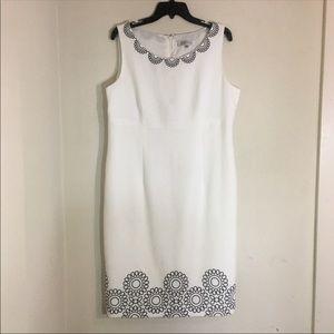 Kasper sheath dress with black embroidery